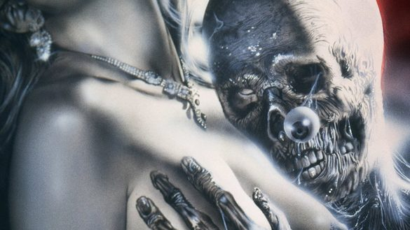 Artwork for Necromantik featuring a skeleton laying its head on a woman's bear chest. It has one hand on her breast and there is an eye popping out of the skull