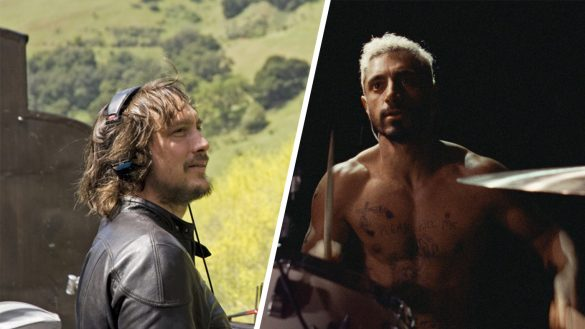 This image is split into two. On the left hand side is sound designer Nicolas Becker on set. He is wearing a black leather jacket and wearing large headphones. On the right is a still of Riz Ahmed in Sound of Metal. He is playing the drums shirtless and he has short blonde hair. There are various small tattoos on his chest
